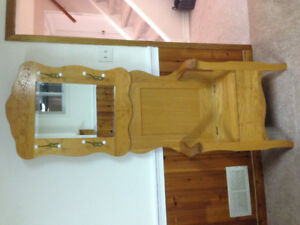 antique wooden bench coat rack with mirror
