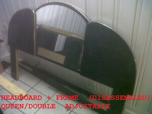 Gorgeous Queen/Double Bed Frame & Black/Gold Mirrored Headboard