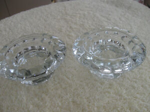 PAIR GORGEOUS HEAVY THICK CLEAR GLASS CANDLE HOLDERS