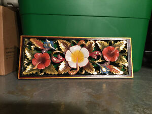 Gold Accent Hibiscus Balinese Wood Carving