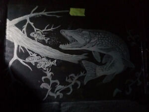 hand engraved glass- pike chasing perch