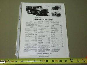 JEEP M-715 MILITARY PRICE MAINTENANCE AND DATA LISTING