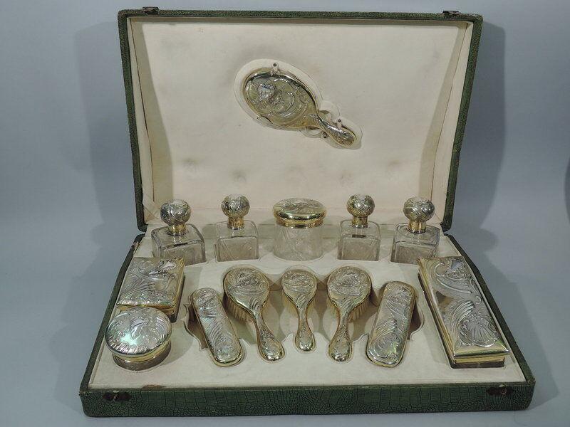 Art Nouveau Vanity Set  Antique Traveling Case  French 950 Silver