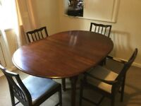 Wooden extending dining table (4-6 seater) + chairs