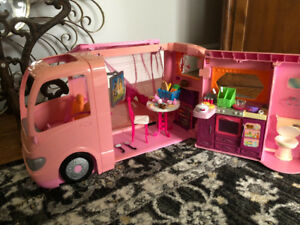 Doll house with Barbie bus and motorcycle