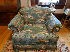 2  COUNTRY  PATTERN CHAIRS.
