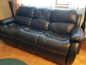 Leather couch and armchairs set