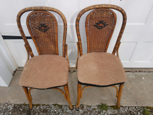 2 Antique Rattan cane wicker chairs