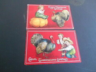 Pair Vintage 1909 Ellen Clapsaddle Thanksgiving Hearty Cordial Turkey Pumpkin