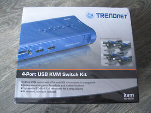 TRENDnet TK-407K 4-Port USB KVM Switch Kit     BRAND NEW