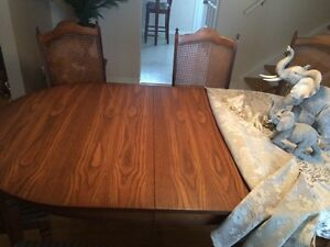Solid wood table with bench and chairs