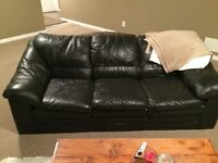 Black leather couch $150