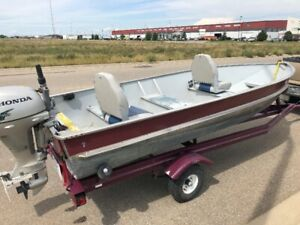 14 foot aluminum boat with Honda 8 hp 4 stroke