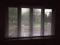 White horizontal faux wood blinds all sizes