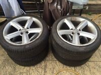 "Audi S Line 18"" inch alloy wheels with 4 nearly new and very good Pirelli tyres. 245/40R18"