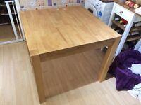 Oak square dining table