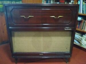 vintage record player and radio console for repair