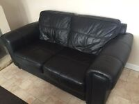 2 seater leather black settee