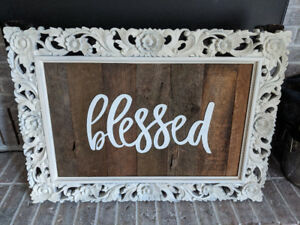 Antique frames, barnboard signs - rustic decor