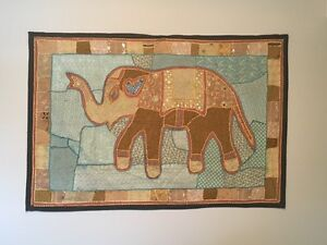 Fabric Elephant Tapestry Wall Hanging