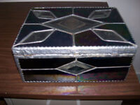 old antique stain glass jewllery box