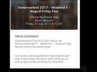 Tomorrowland 2017 21 July Friday magical pass(2 tickets) open to offers