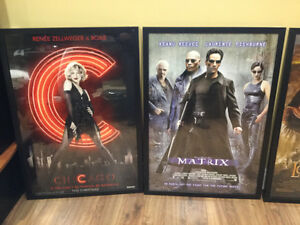 Professionally framed movie posters