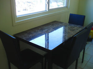 ON SALE Kitchen/Dining Room Table, 4 Leather Chairs