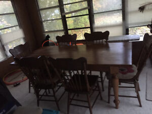 Antique Harvest Table and 6 Matching chairs