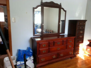 Long bureau and winged mirror and matching high boy dresser