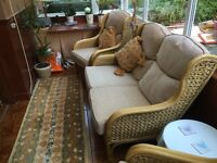 Daro Cane Sofa and Two Chairs