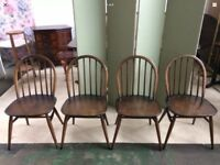 4 X Vintage Ercol Classic Windsor Dining Chairs 370