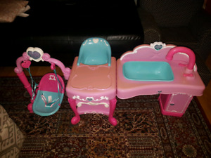 Girls toy high chair and swing