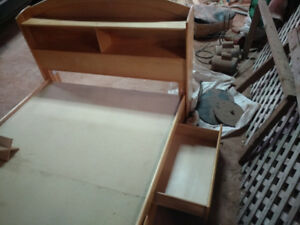 Kids double bed good condition shelves and drawers