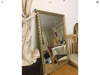 Vintage Ornate Gold Gilt Mantel Hall Wall Bevelled Mirror