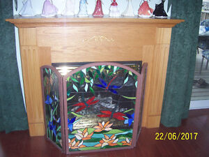 Tiffancy style stained glass fireplace screens