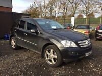06 plate Mercedes ML 500 sport (5 ltr V8 petrol) full year mot. black. new shape