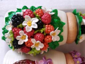 🎁⚘Beautiful Jars with Handmade Polymer Clay Decor Berries Flowers
