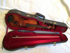 Old German Violin and Bow, and Case