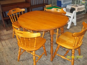 Hardwood Drop Leaf Kitchen Table with Four Chairs