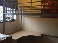 High rise bed with desk and chair