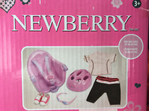 "NEWBERRY 18"" DOLL BIKE CLOTHING & SEAT SET BNIB"