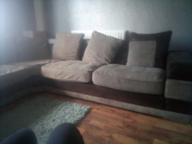 Corner sofa cream and brown