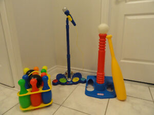 TOY MICROPHONE & BASE-- BOWLING SET --  LITTLE TIKES T-BALL SET