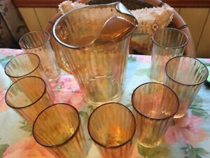 Depression (HEX OPTIC) Carnival Glass Pitcher with Tumblers