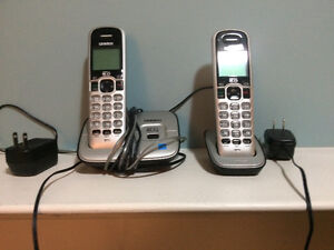 Two Silver and Black Cordless Phones