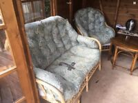 Three piece cain furniture summer house or conservatory suite