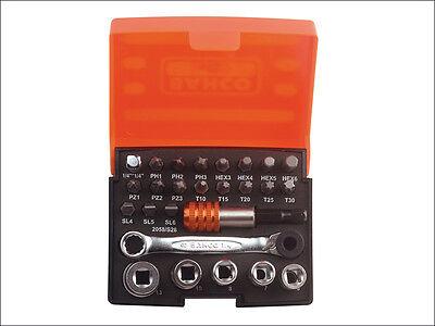 Bahco 2058/S26 Ratchet Socket Bit Set of 26 Metric 1/4in Drive