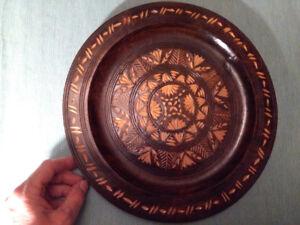Vintage Carved Wood Decorative Plate Folk Art Gorgeous