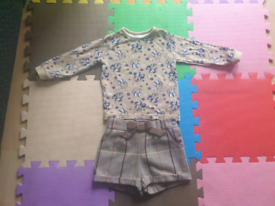 Baby Girls top and shorts 18 to 24 months